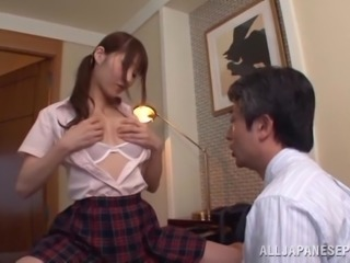 Rei Aimi fingers her shaved Japanese pussy and lets her BF toy it