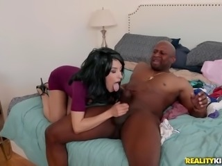 horny sluts fight over cock in a hot interracial threesome