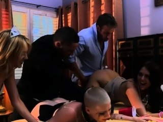 Shaved head sub humiliated in group sex