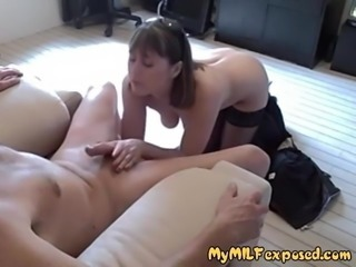 My MILF Exposed Wife in stockings giving head POV juice