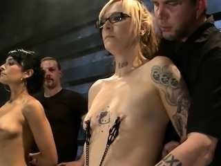 Three submissive gals in a fetish clip