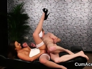 Horny hottie gets cum load on her face sucking all the sperm