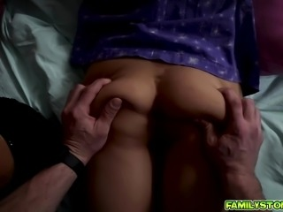 Step dad cant stop fucking two wet twats alrernately
