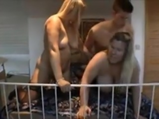 Two blonde MILFs fucked by a stud