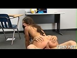 Inexperienced schoolgirl serves a throbbing cock of a mature man