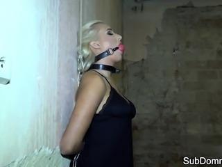 Cocksucking sub slave pleasures her master