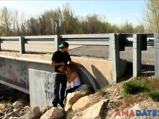 Quickie Sex by a Bridge with Traffic