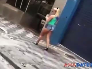 Slut Blonde Hot Ass In The Street