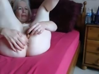 I'm beautiful and horny granny and I play with my shaved pussy