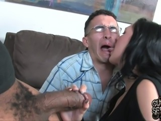 Cuckold husband watches how his wife Megan Foxx gives blowjob to BBC