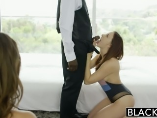 Gorgeous babes Jade Nile and Chanel Preston having passionate interracial sex