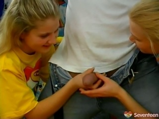 Hilarious blond teens take a chance to suck a strong hot and big cock (FFM)