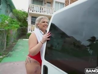 A bit plump bosomy bikini hottie Ashley Barbie deserves doggy fuck in the van