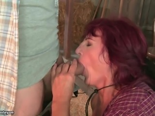 Slutty granny Ria gets her pussy licked and fucked in a shed