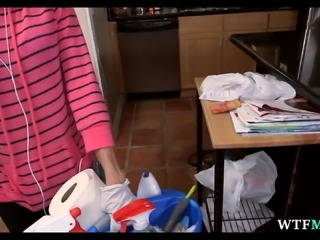 Maid cleans naked for extra money.