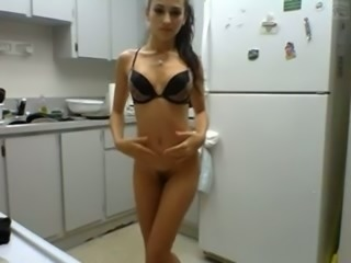 Slim nympho with small tits puts on a good show for me