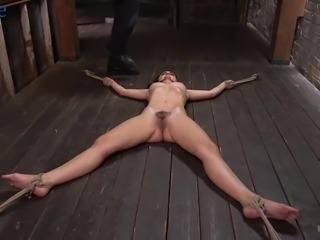 Crucified on the floor and tied up whore Roxanne Rae gets to know BDSM