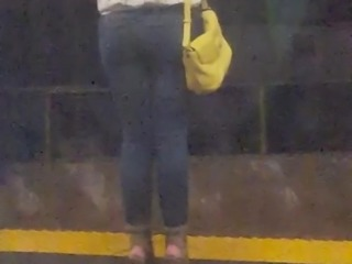 Quick shot blonde cutie on train platform p2