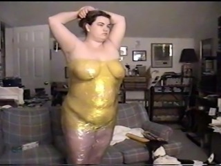 Overspending BBW Wife Must Wear Humiliating Saran Wrap dress