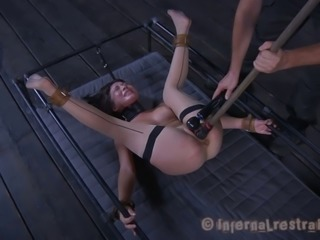Sexy brunette Asian Nyssa Nevers screams whne getting caned