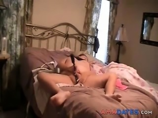 My mom masturbating on bed caught. Hidden cam