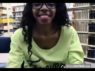 Black teen library flashing