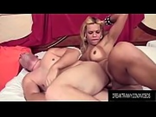 Lusty Blonde Tranny Erika Backster and a Guy Plow Each Others Buttholes