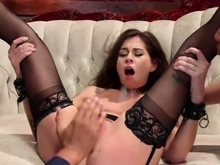 Interracial threesome anal bdsm sex