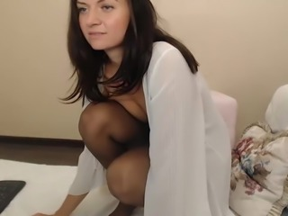 Pantyhose tease leads to pussy and anal play