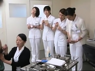 Lustful Asian nurses satisfy their intense desire for cock