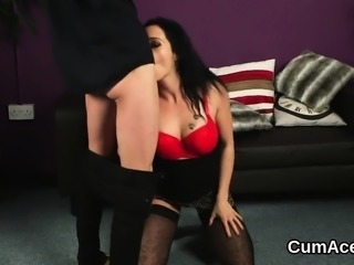 Hot honey gets cumshot on her face sucking all the charge32S
