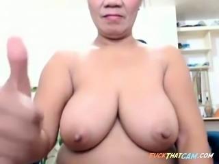 Big tit Asiian mature on cam again