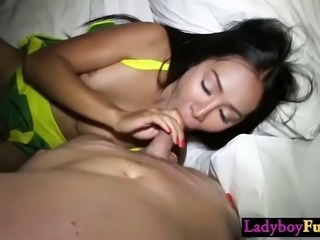 Nasty petite asian shemale swallowed a guys big thing