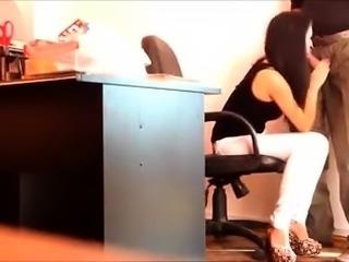 Slender amateur brunette blows a meat stick on hidden cam