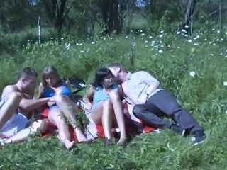 Giddy Russian teen with nice ass getting hammered in enchanting forest sex...