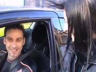 Slutty amateur whore has a car date