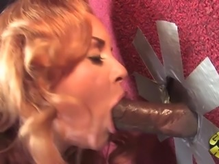 Interracial gloryhole action with salacious blonde milf Janet Mason