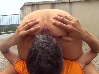 Housewife Slave beeing used Outdoor by Young Stud
