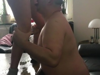 Horny Milf pissing man in the face