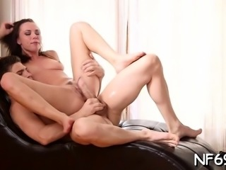 Inviting young brunette beauty Aidra Fox gets crotch licked