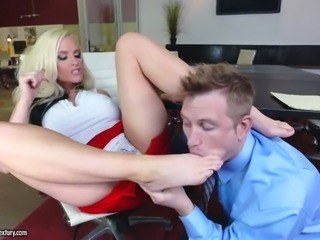 Kinky young boss pleases busty blond secretary with cunnilingus in the office
