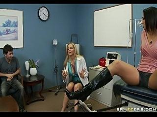 Dr. Julia Ann tries new orgasmenhancing cream on rachel Starr's pussy lips