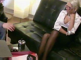 Strickt German Amateur Blonde Mother fucks Man