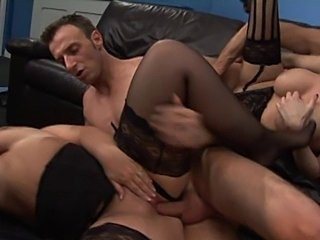 British slut Dani in a foursome