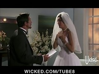 NERVOUS BIG TIT BRUNETTE WIFE FUCKS BIG DICK BEFORE WEDDING IN GOWN