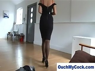 Laughing milf in lingerie gives harsh handjob  free